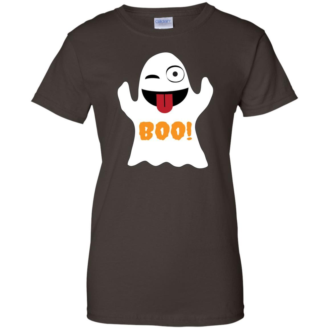 Emoji T Shirt Halloween Ghost Emoji Tongue Out Boo!