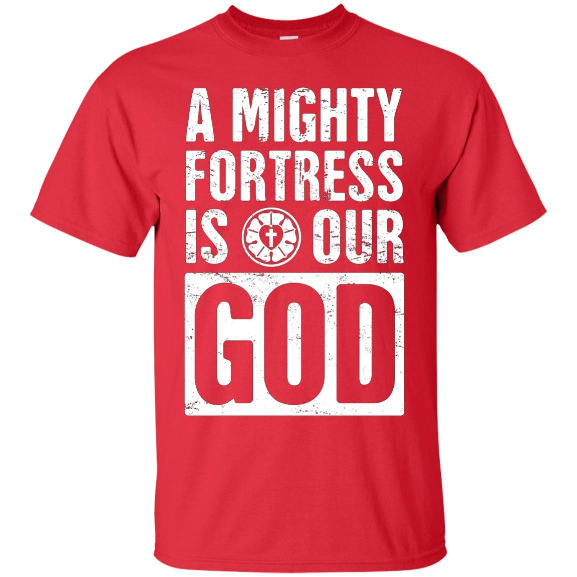 """""""A Mighty Fortress Is Our God"""" Distressed Lutheran T-Shirt"""