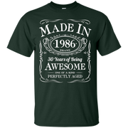30th Birthday Gift Made In 1986 Awesome Black – T-Shirt
