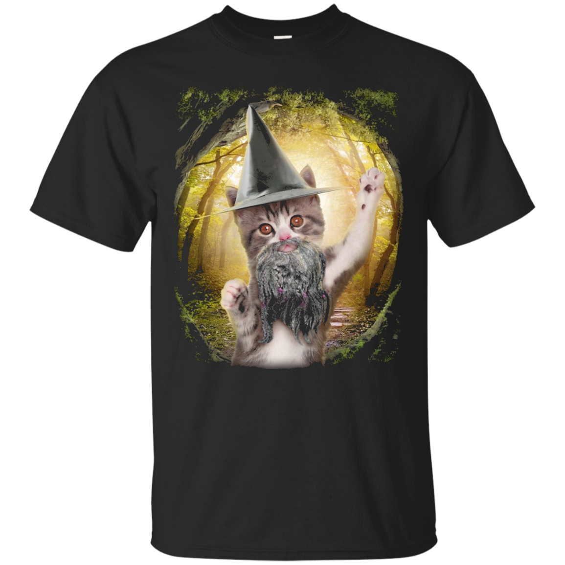 Wizard Kitty T-Shirt, Cute Fantasy Cat Tee by Zany Brainy