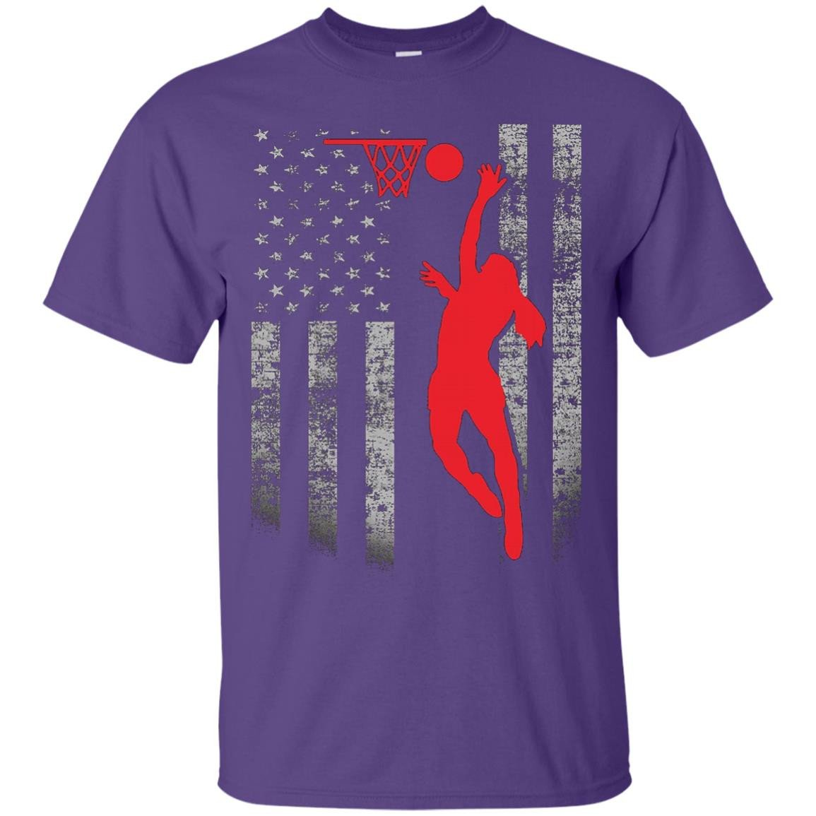 Female Basketball Player US Flag T-Shirt - Patriotic Design
