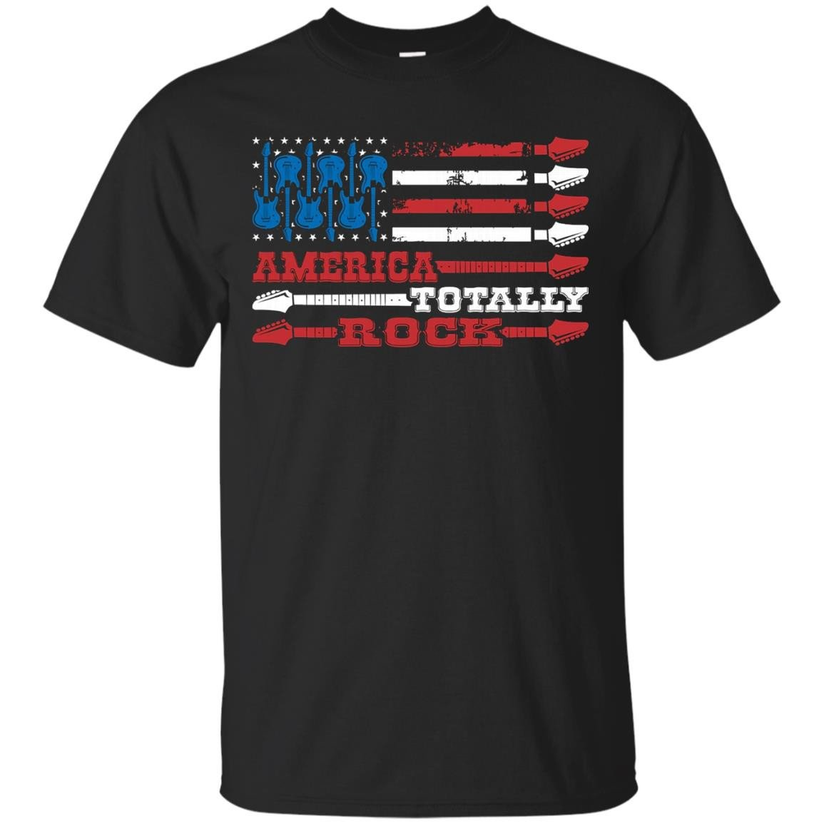 American Flag with Guitars, America Totally Rock T Shirt - T-Shirt