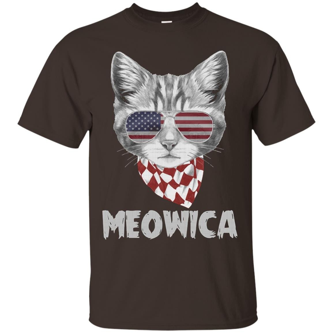 Meowica USA American Flag Cat, 4th Of July T Shirt - T-Shirt