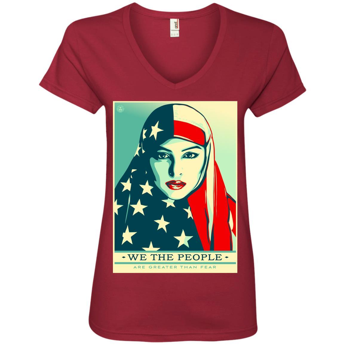 we the people are greater than fear - Anvil Ladies' V-Neck T-Shirt Style / Color / Size