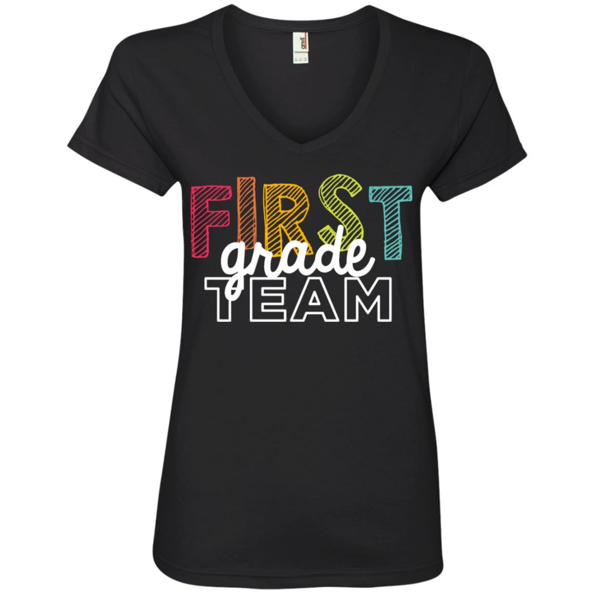 First Grade Team Shirts - Ladies' V-Neck T-Shirt Style / Color / Size