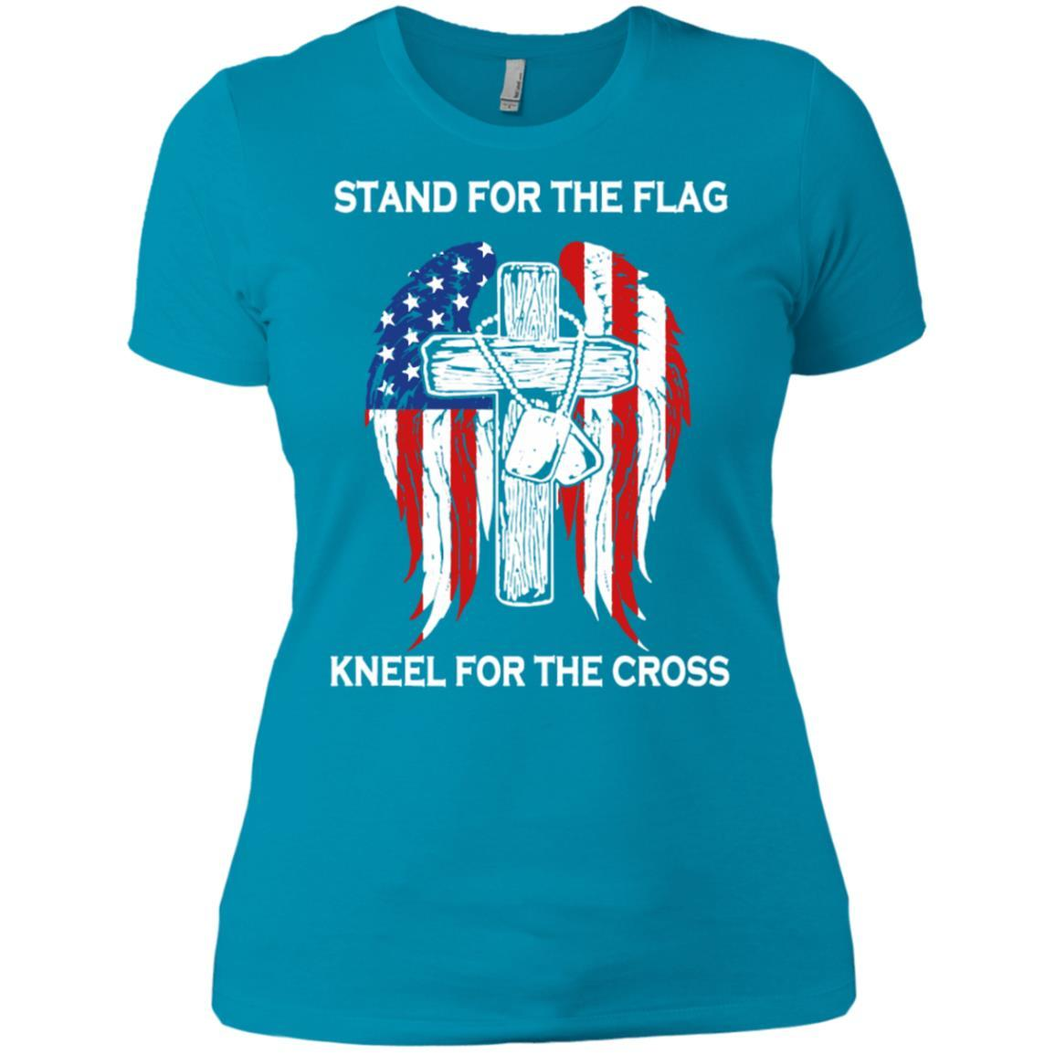 Stand For The Flag Kneel For The Cross - Ladies' Boyfriend T-Shirt Style / Color / Size