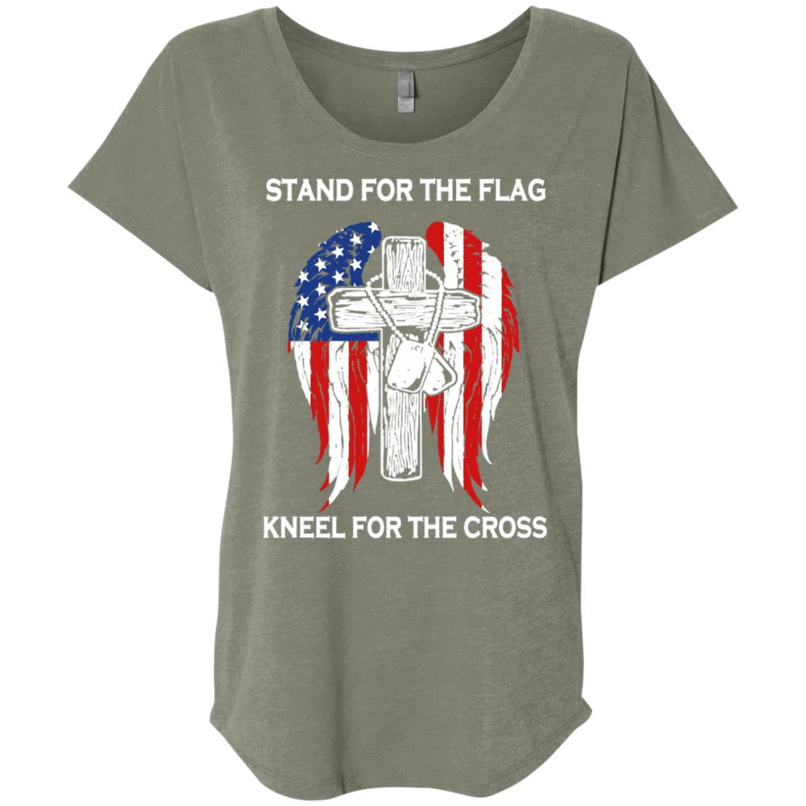 Stand For The Flag Kneel For The Cross - Ladies' Triblend Dolman Sleeve Style / Color / Size