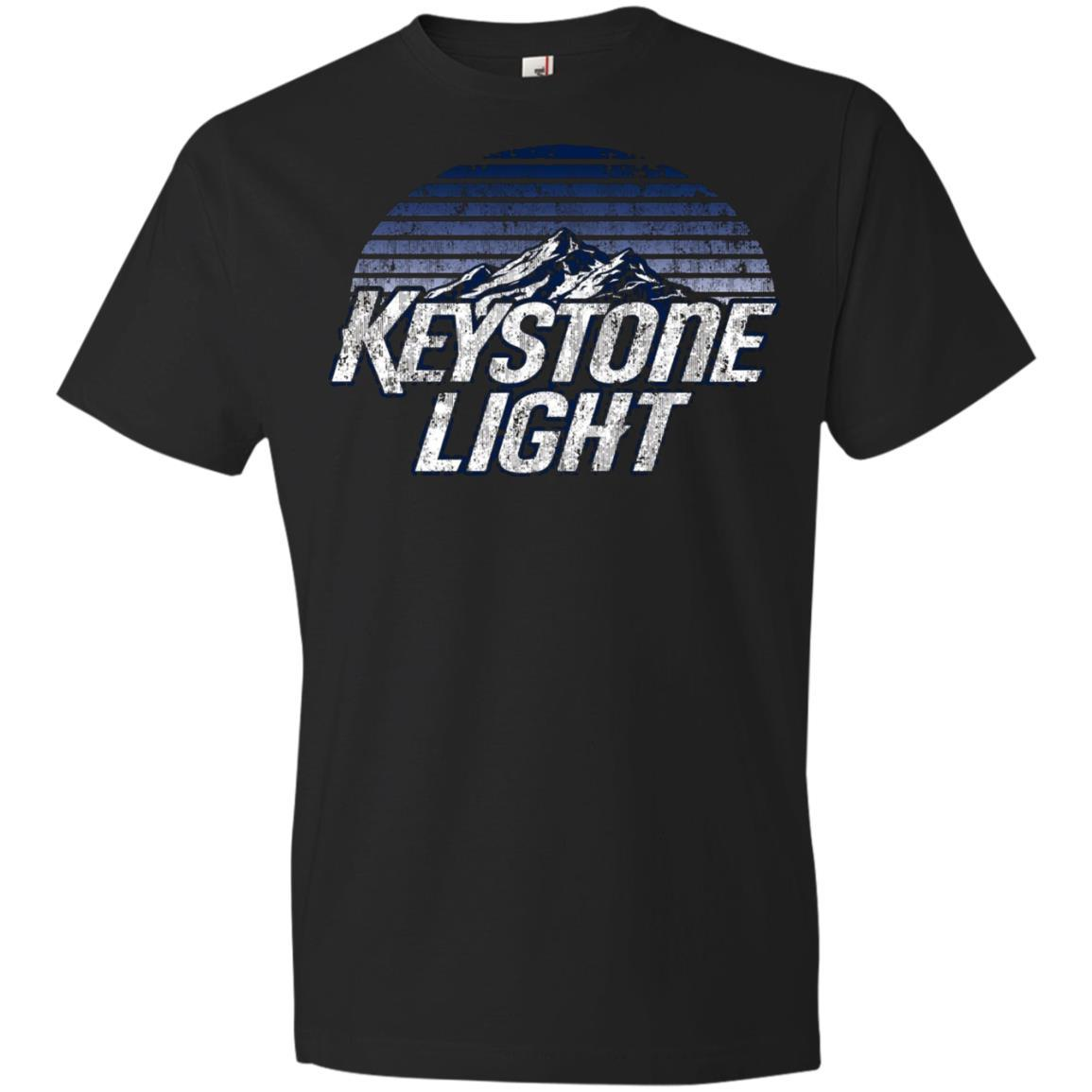 Keystone Light Beer Classic Look - Anvil Lightweight T-Shirt Black / 3XL
