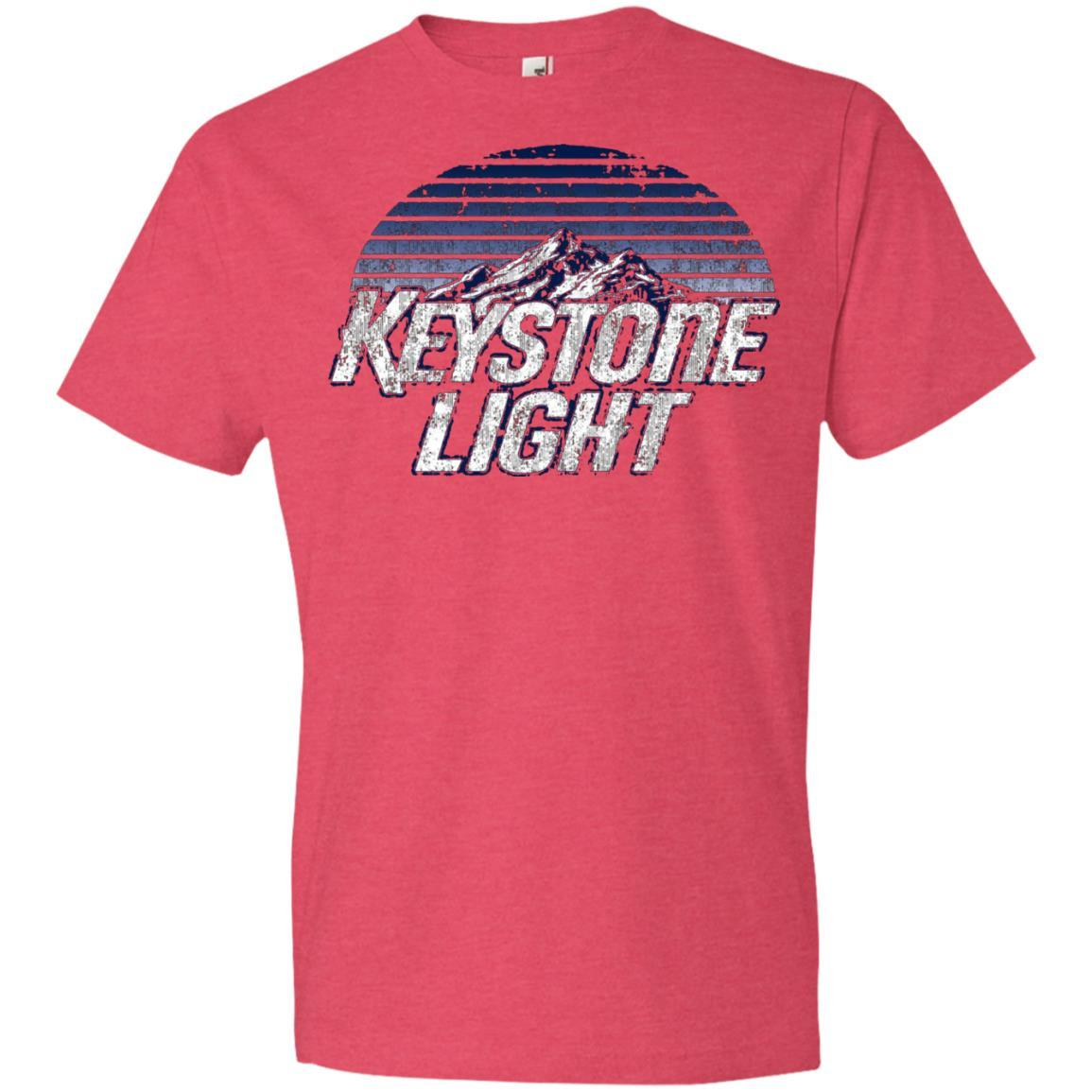 Keystone Light Beer Classic Look - Anvil Lightweight T-Shirt Heather Red / 3XL