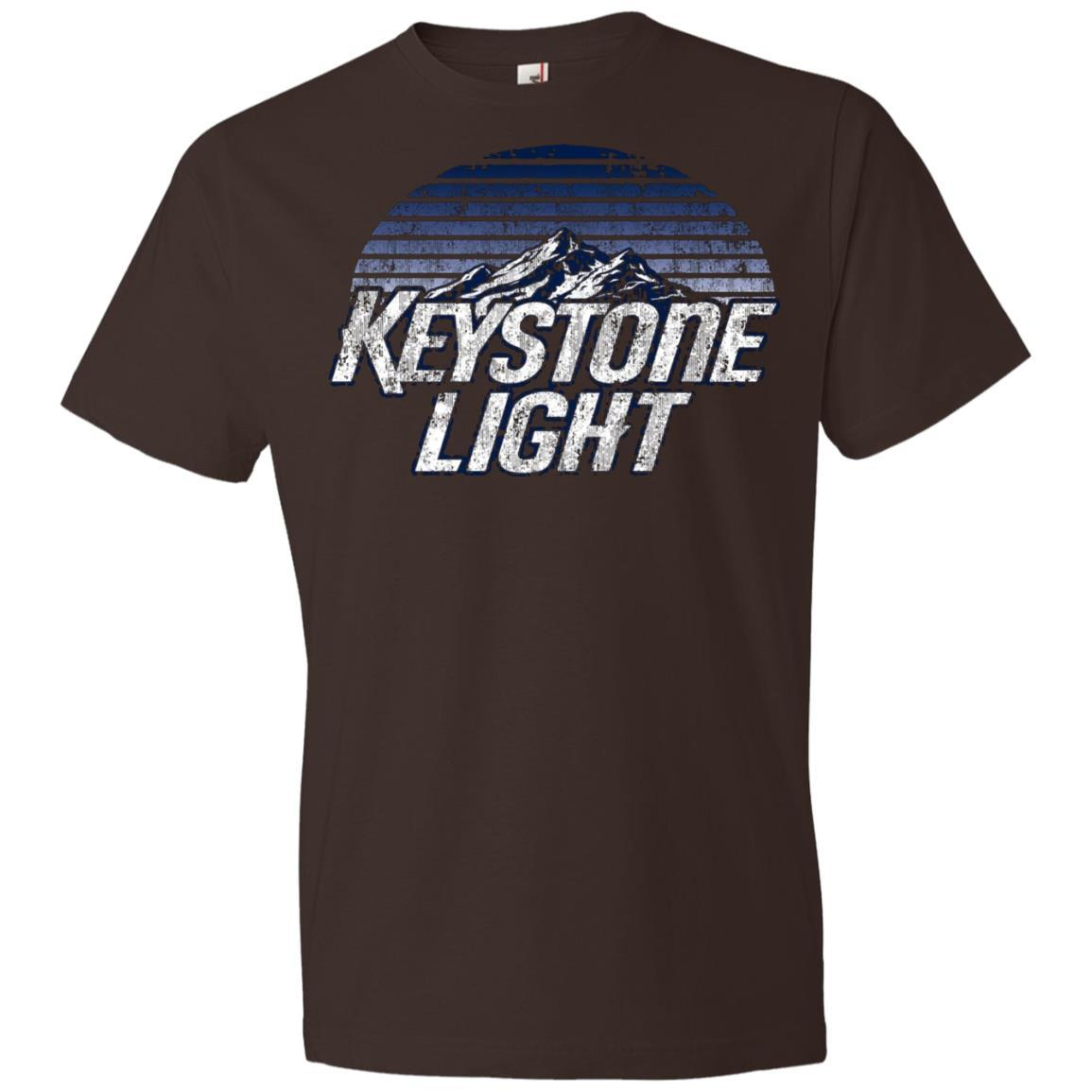 Keystone Light Beer Classic Look - Anvil Lightweight T-Shirt Chocolate / 3XL
