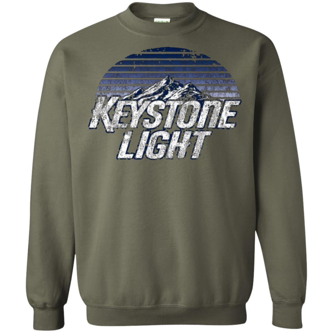 Keystone Light Beer Classic Look - Pullover Sweatshirt Military Green / 5XL