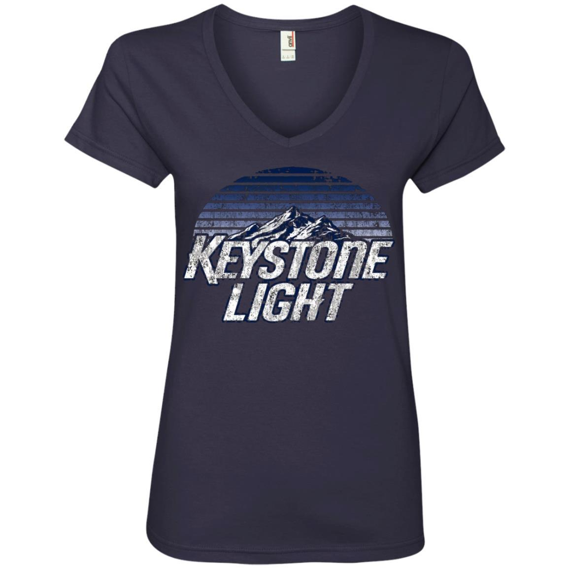 Keystone Light Beer Classic Look - Ladies' V-Neck T-Shirt Style / Color / Size