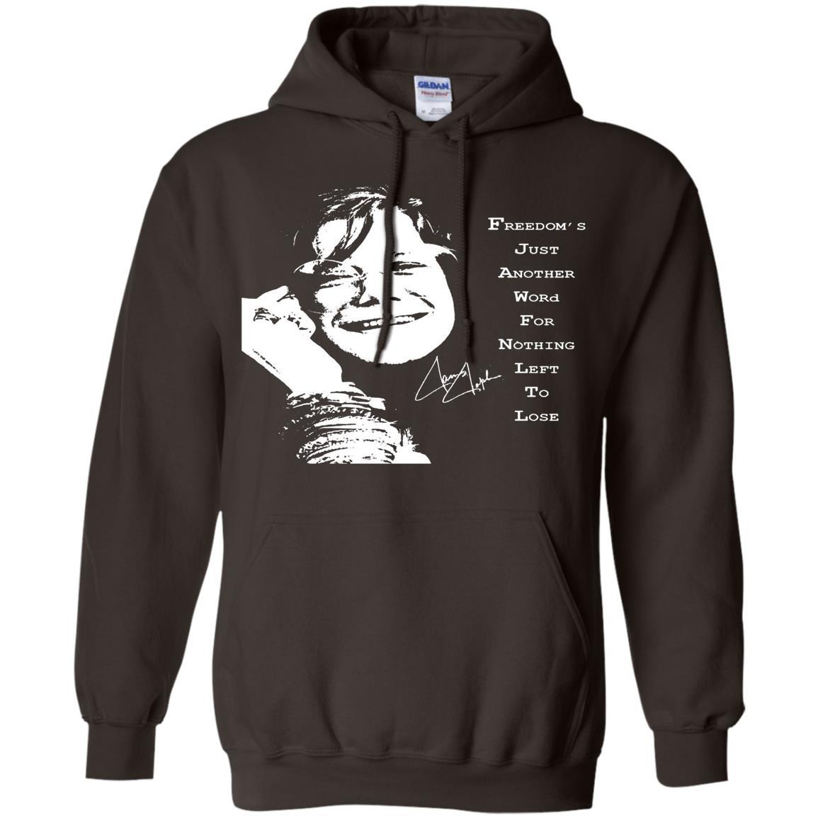 JANIS JOPLIN SHIRTS FOR FANS - Pullover Hoodie Dark Chocolate / 5XL
