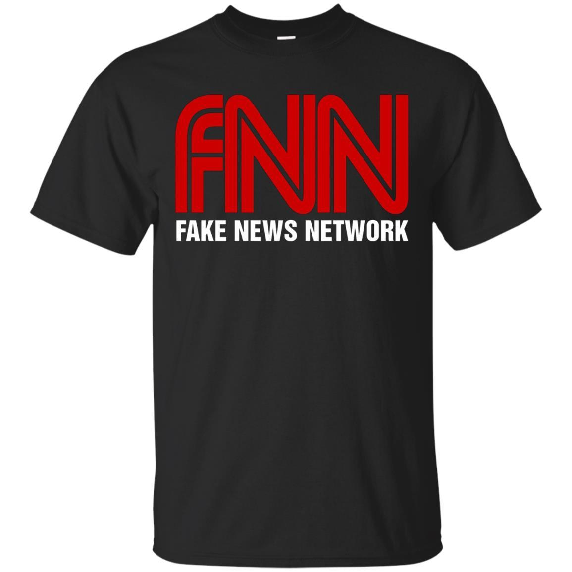 Fake News Network T-Shirt - Funny FNN Logo Humor Quote Tee Black / 5XL