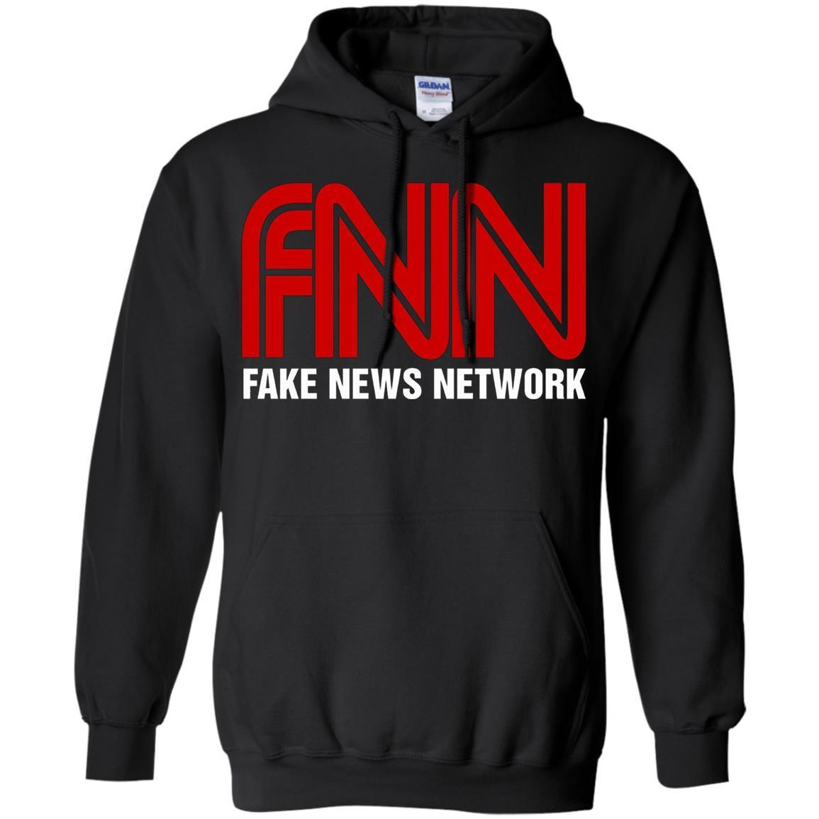 Fake News Network - Funny FNN Logo Humor Quote Tee - Pullover Hoodie Black / 5XL