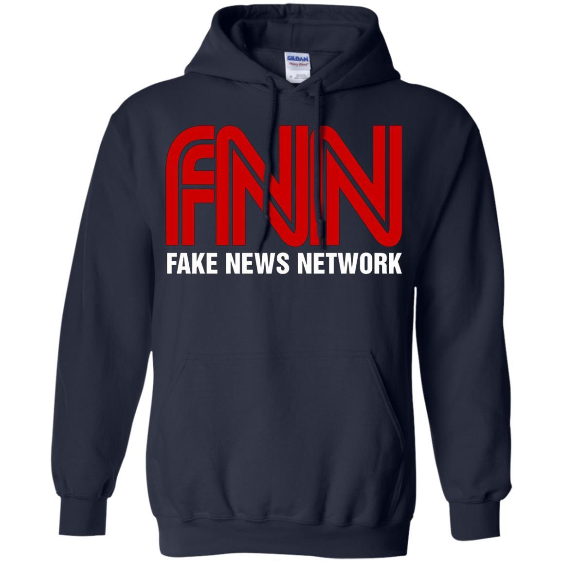 Fake News Network - Funny FNN Logo Humor Quote Tee - Pullover Hoodie Navy / 5XL