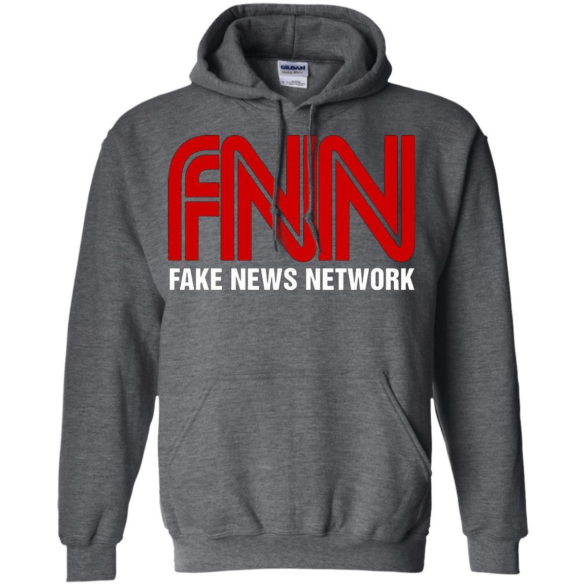 Fake News Network - Funny FNN Logo Humor Quote Tee - Pullover Hoodie Dark Heather / 5XL