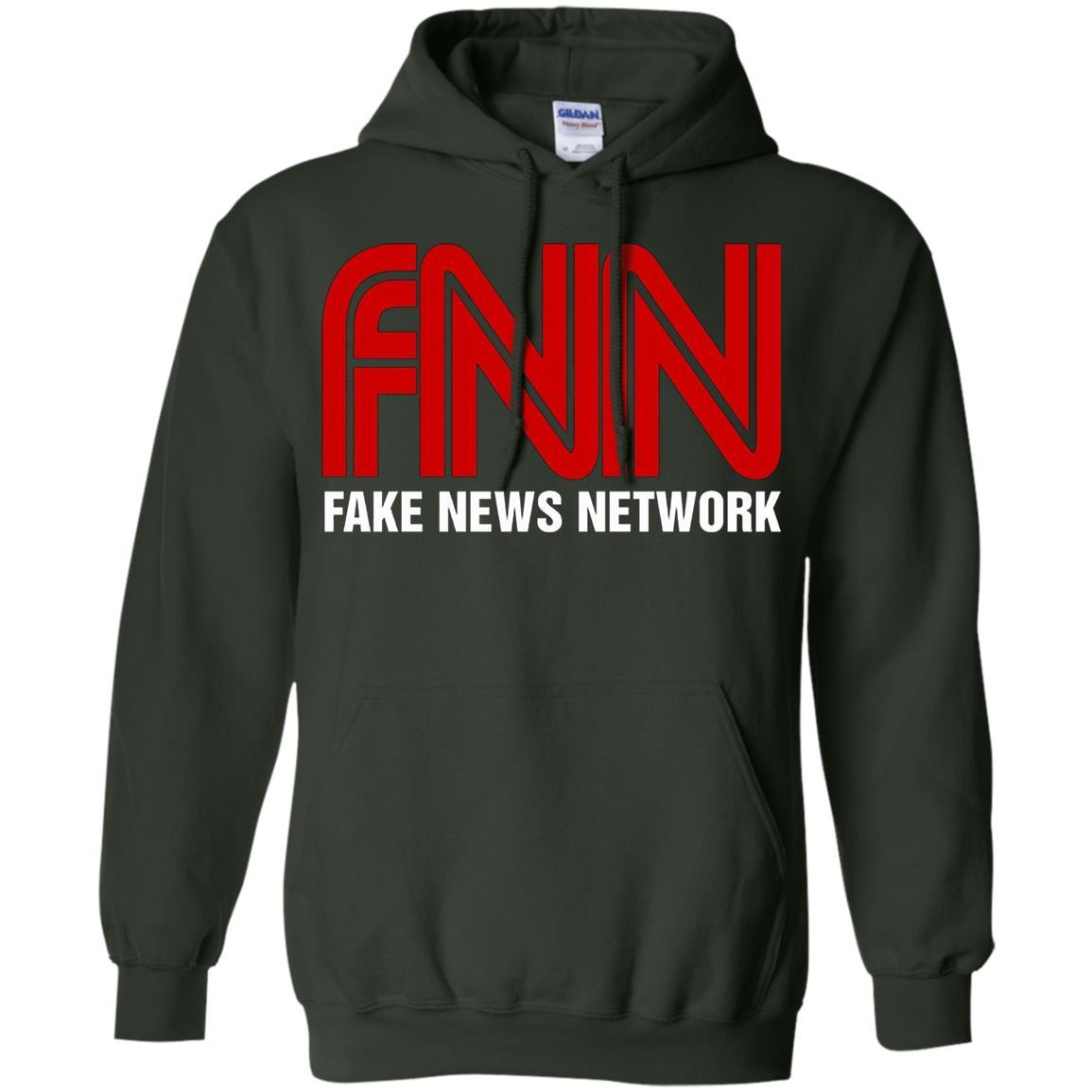 Fake News Network - Funny FNN Logo Humor Quote Tee - Pullover Hoodie Forest Green / 5XL