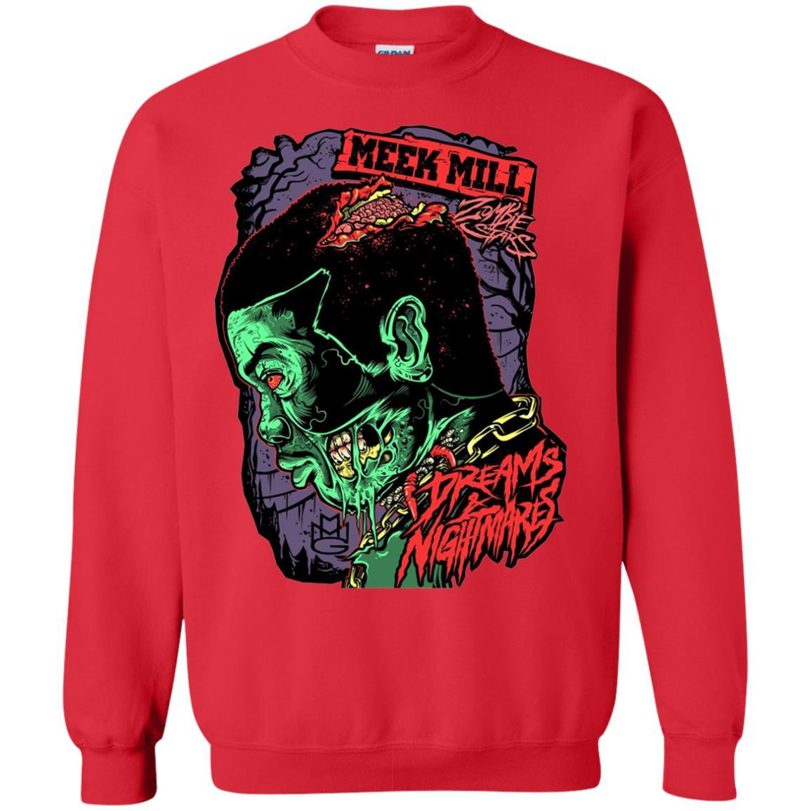 Meek Mill Zombie Tee Shirt Halloween - Crewneck Pullover Sweatshirt Red / 5XL