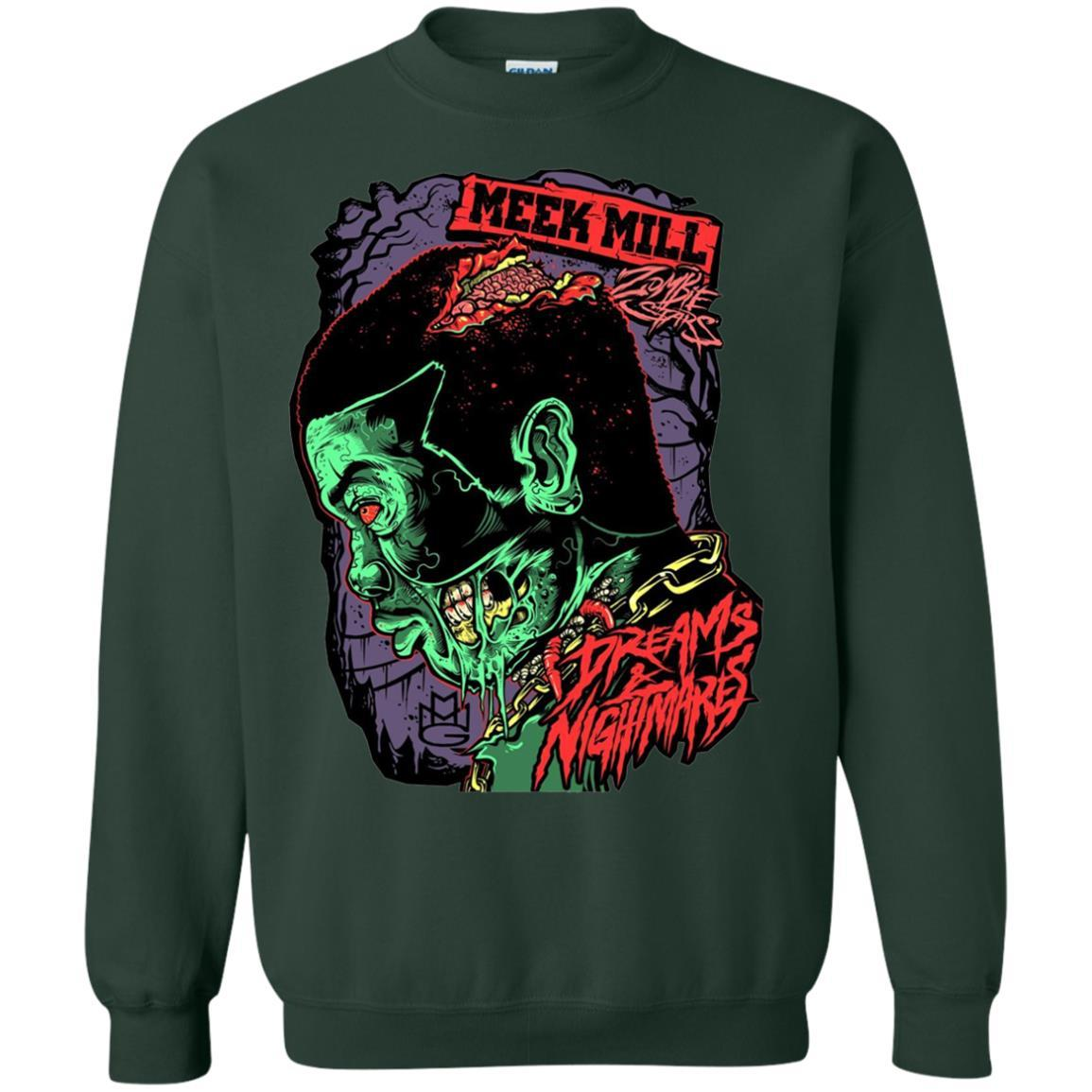 Meek Mill Zombie Tee Shirt Halloween - Crewneck Pullover Sweatshirt Forest Green / 5XL