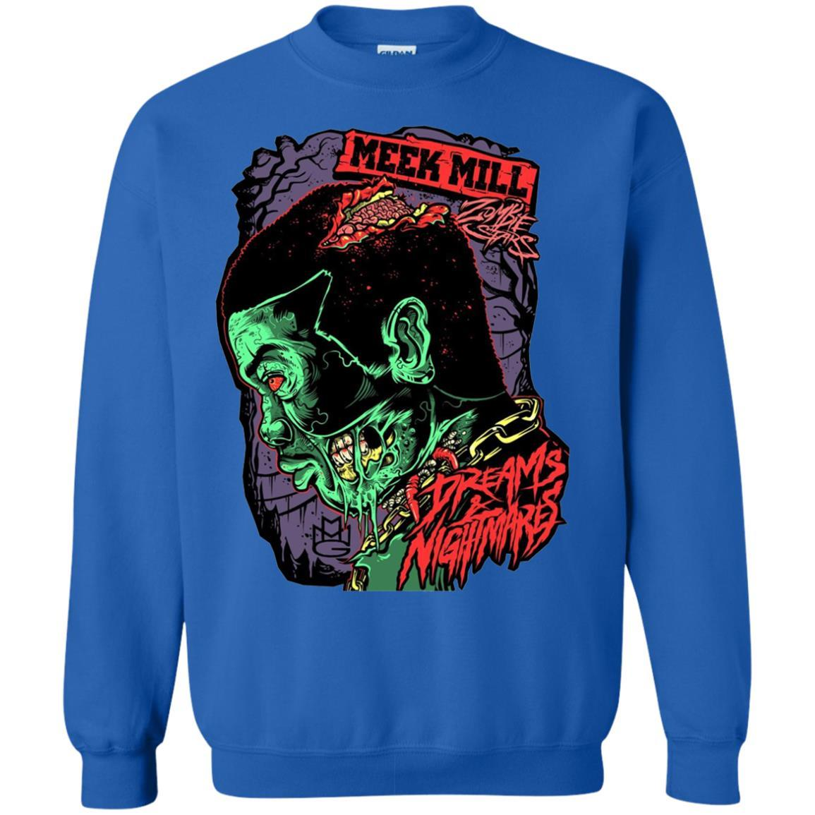 Meek Mill Zombie Tee Shirt Halloween - Crewneck Pullover Sweatshirt Royal / 5XL