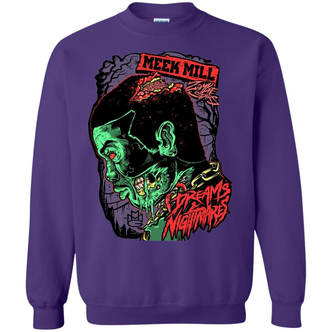 Meek Mill Zombie Tee Shirt Halloween - Crewneck Pullover Sweatshirt Purple / 5XL