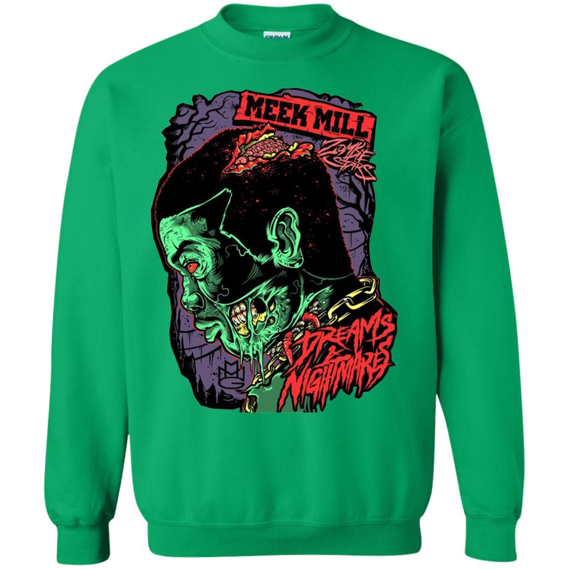 Meek Mill Zombie Tee Shirt Halloween - Crewneck Pullover Sweatshirt Irish Green / 5XL