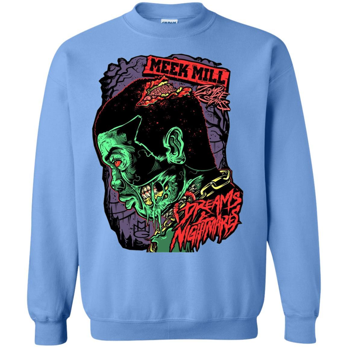 Meek Mill Zombie Tee Shirt Halloween - Crewneck Pullover Sweatshirt Carolina Blue / 5XL
