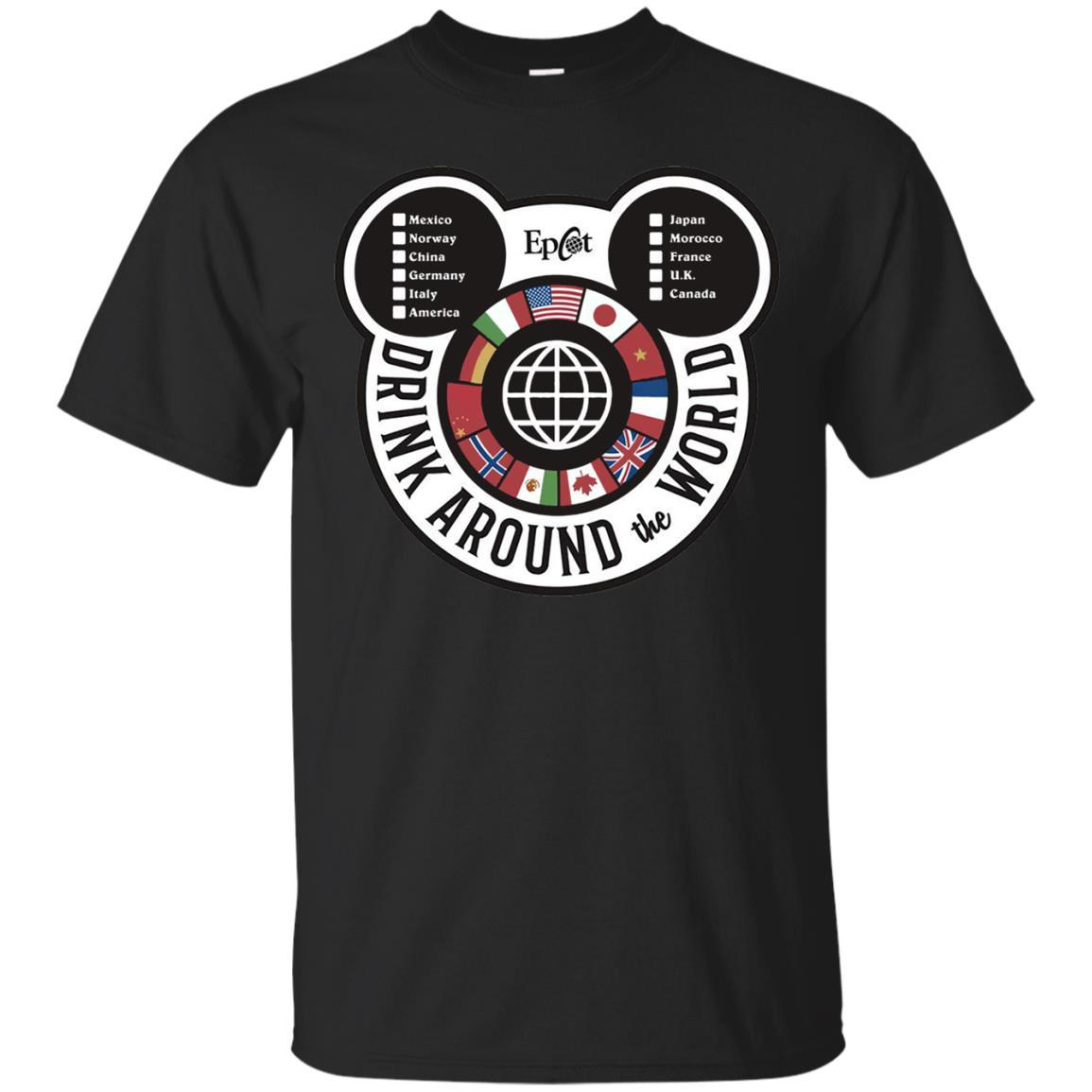 Drink Around the World - EPCOT Checklist - T-Shirt Black / 5XL