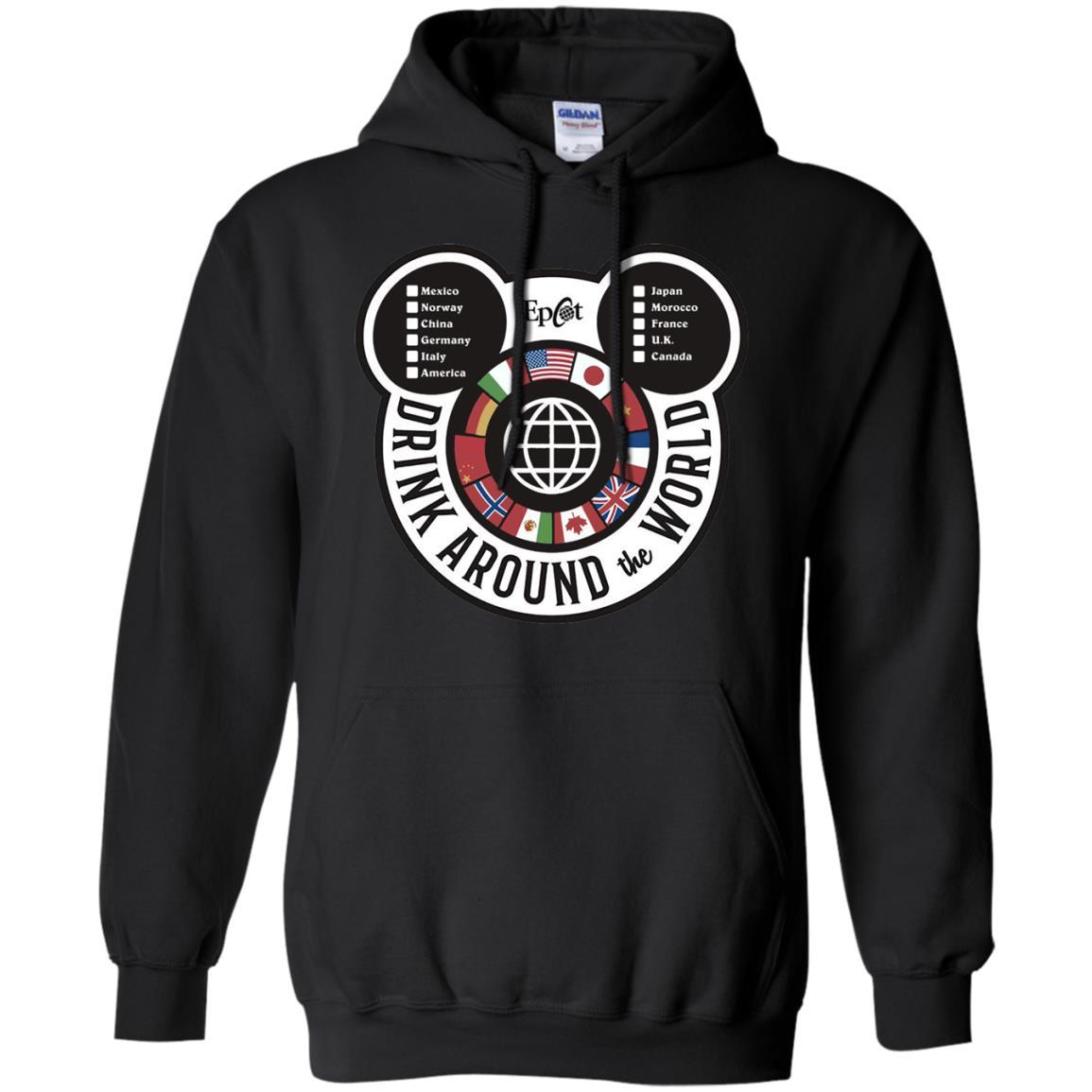 Drink Around the World - EPCOT Checklist - Pullover Hoodie Black / 5XL