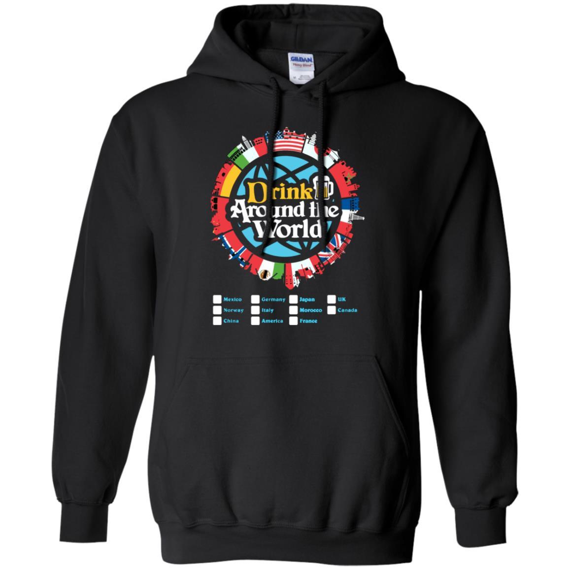 Drink Around the World - Pullover Hoodie Black / 5XL
