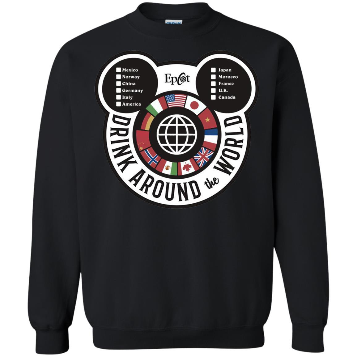 Drink Around the World - EPCOT Checklist - Crewneck Pullover Sweatshirt Black / 5XL