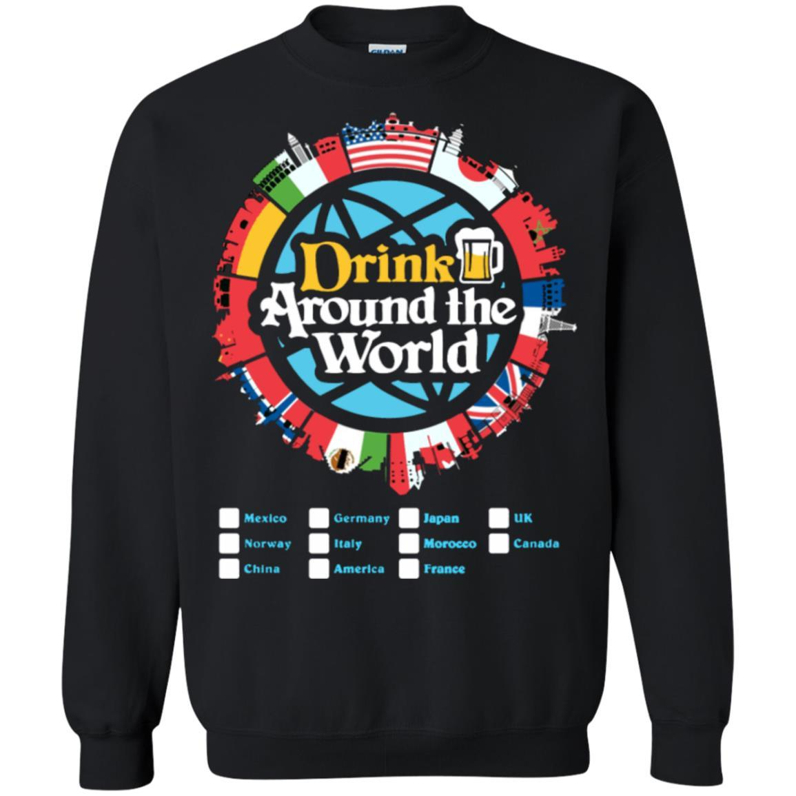 Drink Around the World - Pullover Sweatshirt Black / 5XL