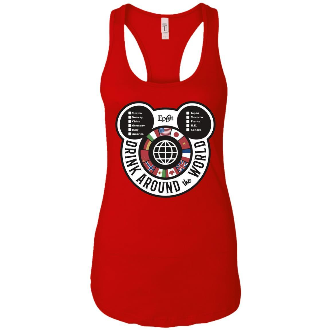 Drink Around the World - EPCOT Checklist - Ladies Ideal Racerback Tank Red / 2XL