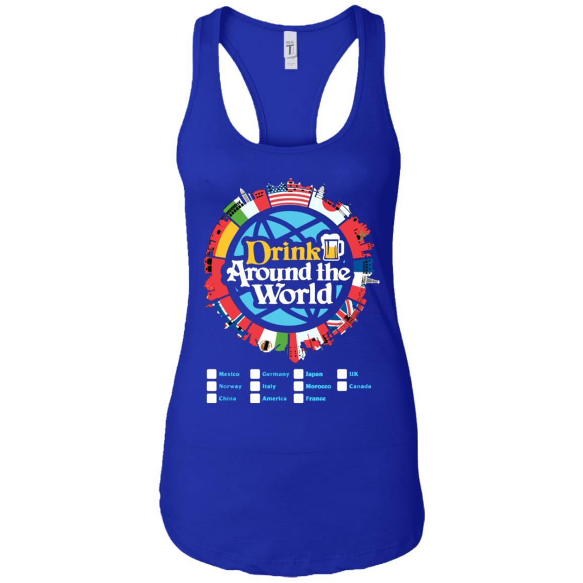 Drink Around the World - Ladies Ideal Racerback Tank Royal / 2XL