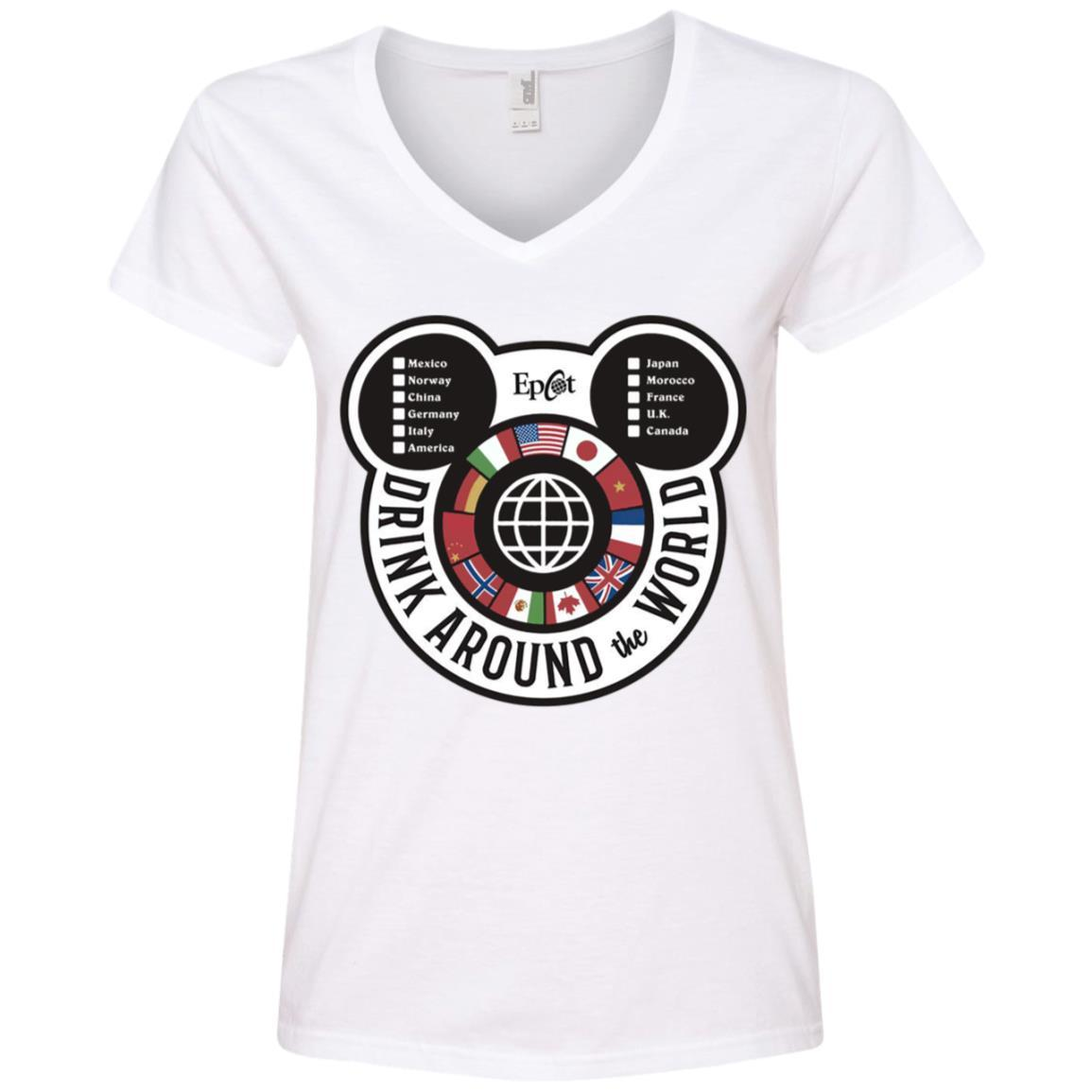 Drink Around the World - EPCOT Checklist - Ladies' V-Neck T-Shirt White / 2XL