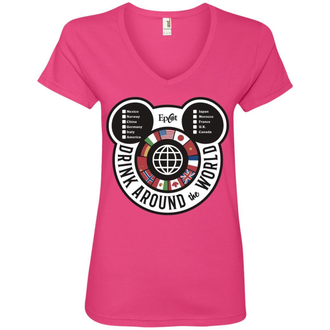 Drink Around the World - EPCOT Checklist - Ladies' V-Neck T-Shirt Hot Pink / 2XL