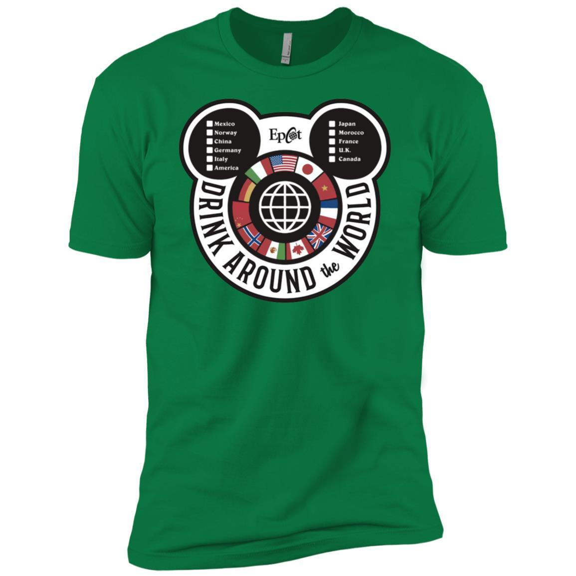 Drink Around the World - EPCOT Checklist - Short Sleeve T-Shirt Kelly Green / 3XL