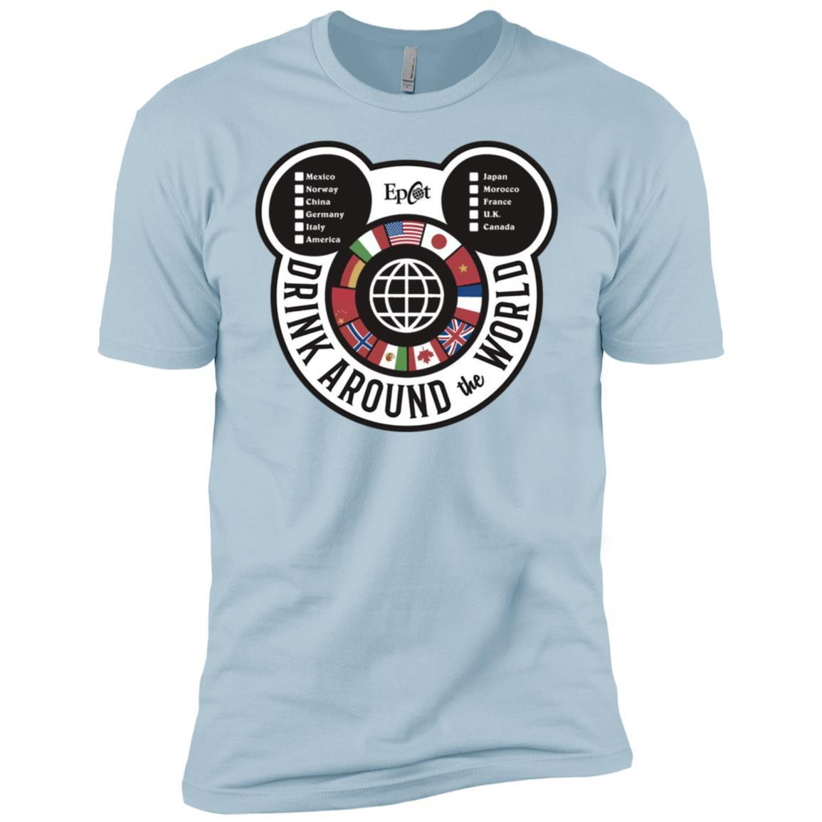 Drink Around the World - EPCOT Checklist - Short Sleeve T-Shirt Light Blue / 3XL