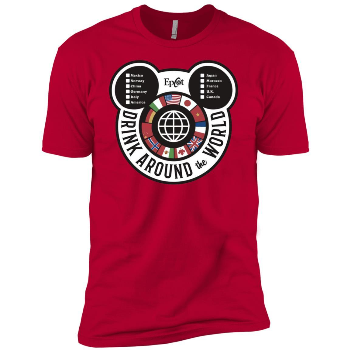 Drink Around the World - EPCOT Checklist - Short Sleeve T-Shirt Red / 4XL