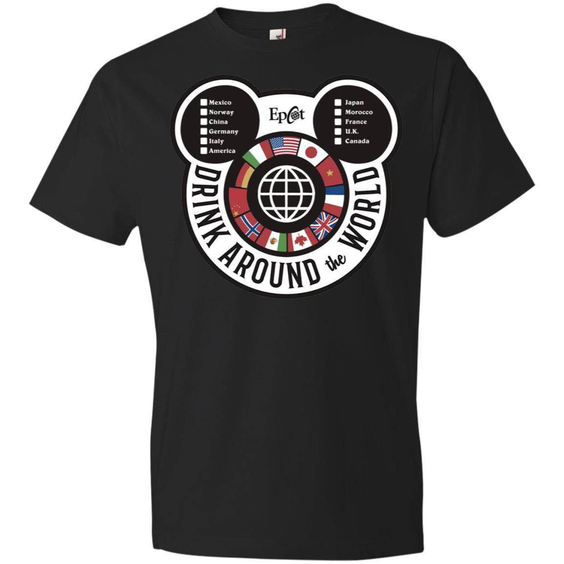 Drink Around the World - EPCOT Checklist - Anvil Lightweight T-Shirt Black / 3XL