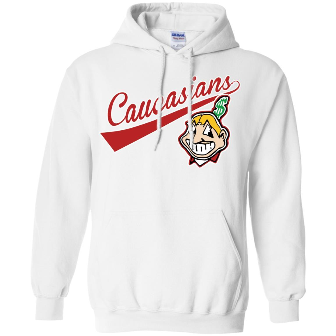 Cleveland Caucasians Native Go Indians - Pullover Hoodie White / 5XL