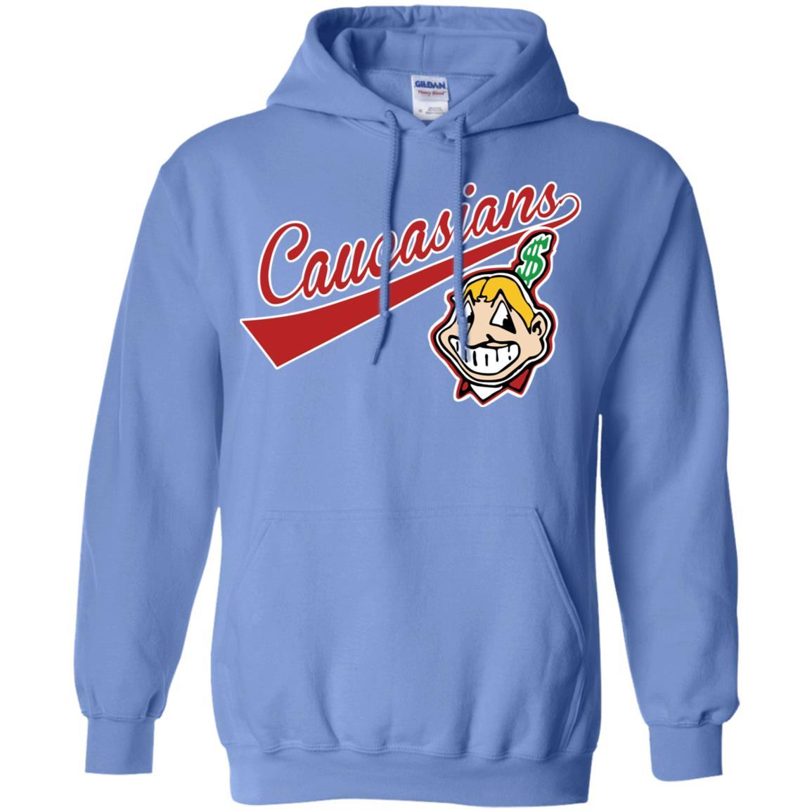 Cleveland Caucasians Native Go Indians - Pullover Hoodie Carolina Blue / 5XL