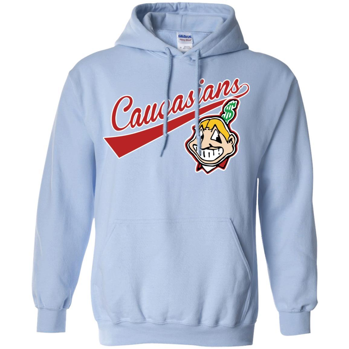 Cleveland Caucasians Native Go Indians - Pullover Hoodie Light Blue / 5XL