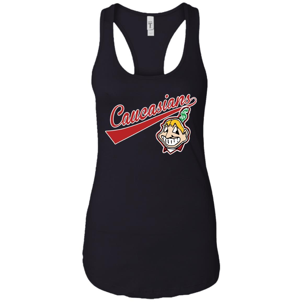 Cleveland Caucasians Native Go Indians - Ladies Ideal Racerback Tank Black / 2XL