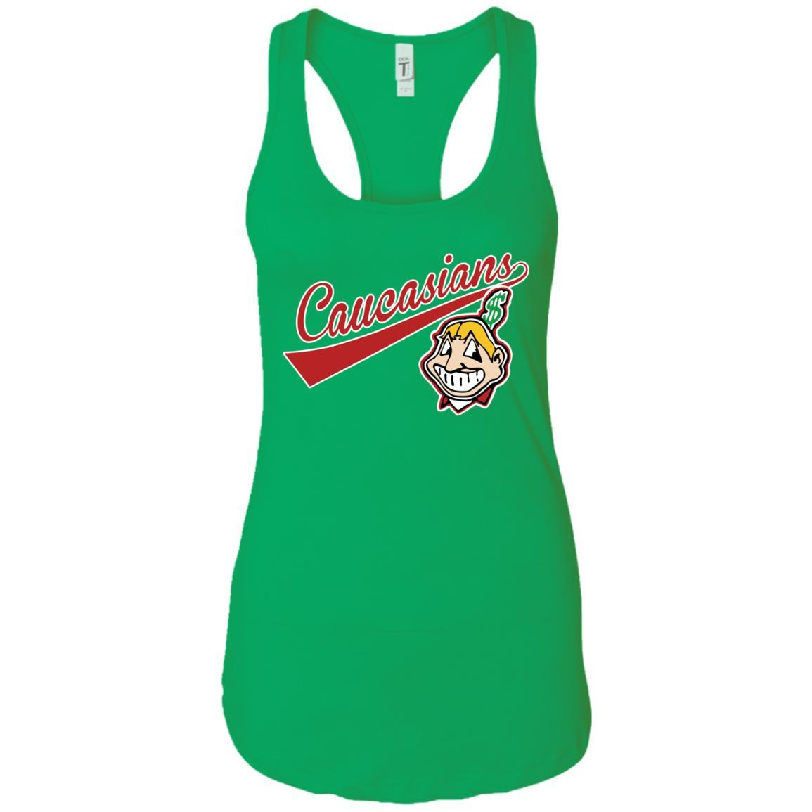 Cleveland Caucasians Native Go Indians - Ladies Ideal Racerback Tank Kelly Green / 2XL