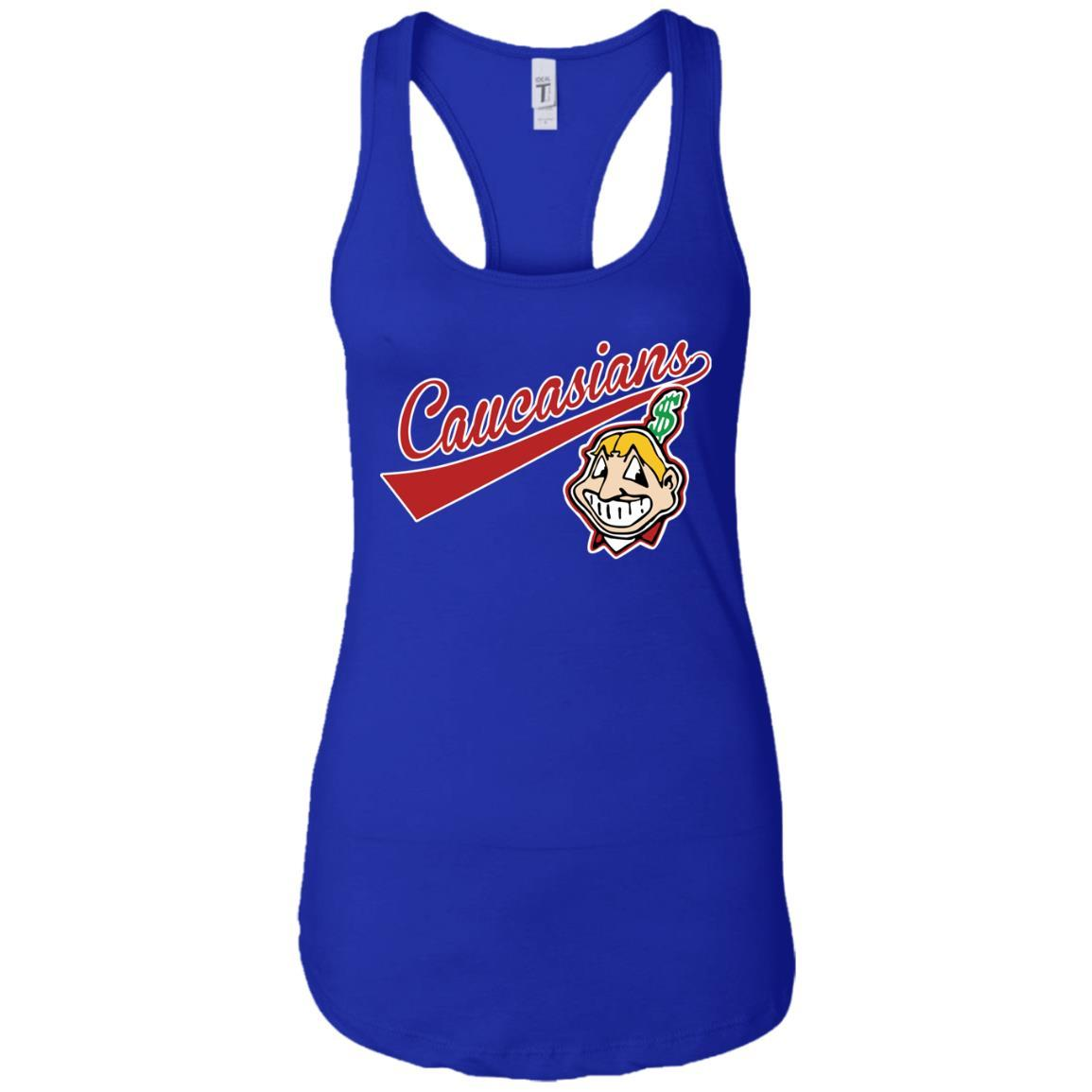 Cleveland Caucasians Native Go Indians - Ladies Ideal Racerback Tank Royal / 2XL