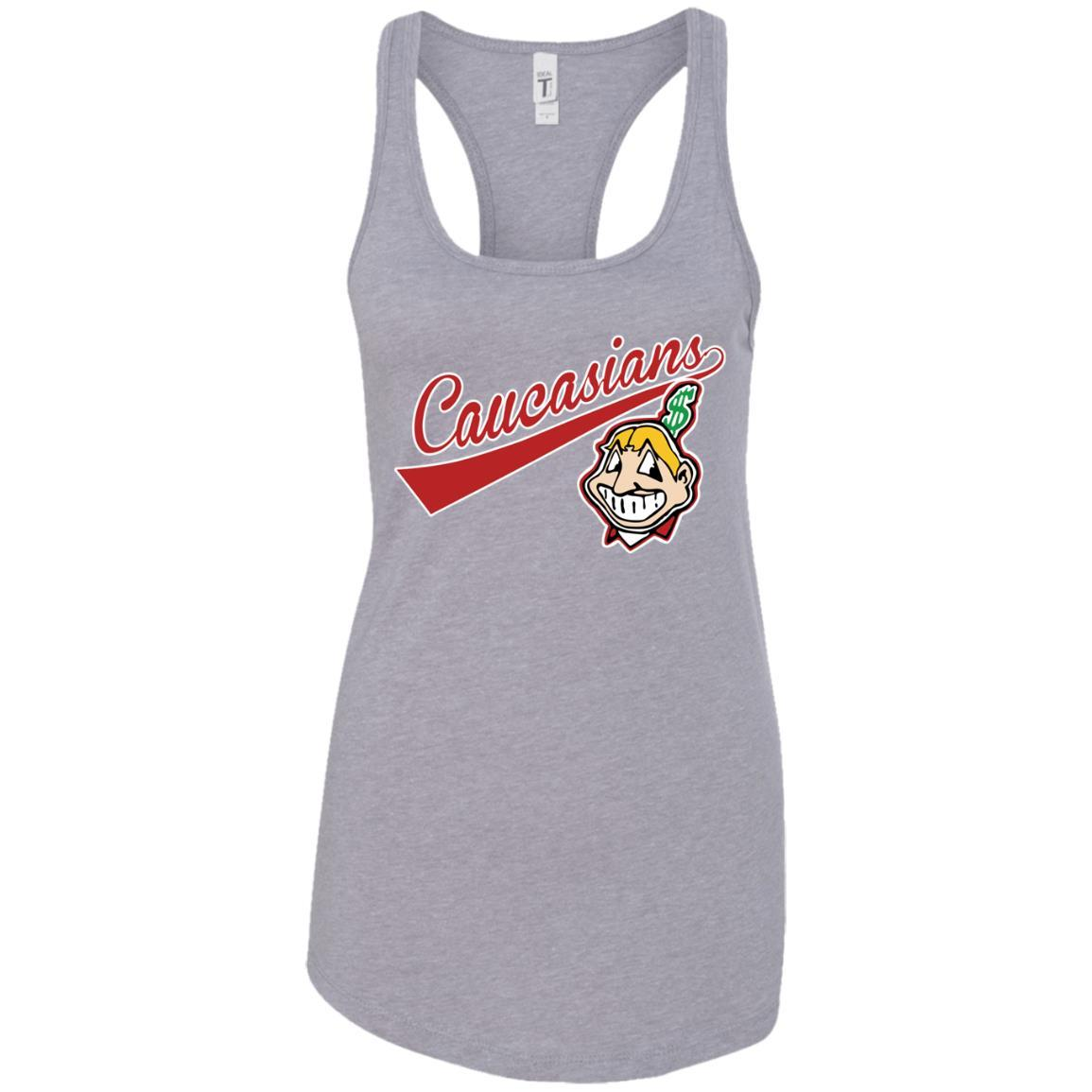 Cleveland Caucasians Native Go Indians - Ladies Ideal Racerback Tank Heather Grey / 2XL