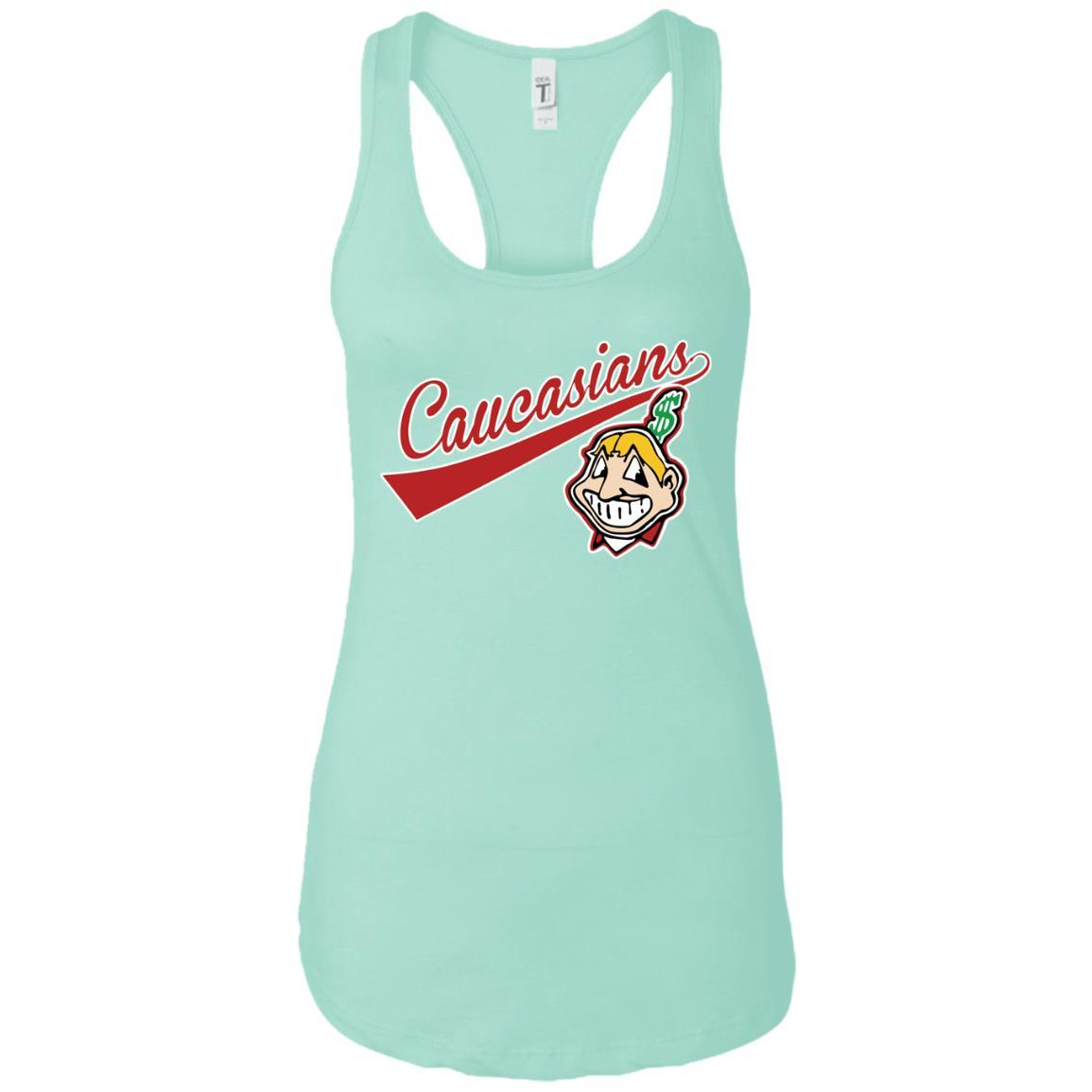 Cleveland Caucasians Native Go Indians - Ladies Ideal Racerback Tank Mint / 2XL