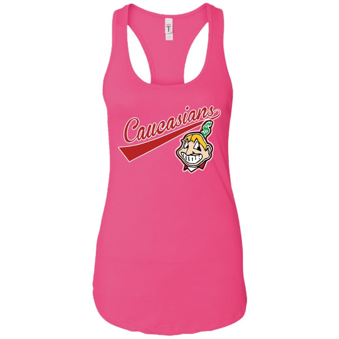 Cleveland Caucasians Native Go Indians - Ladies Ideal Racerback Tank Raspberry / 2XL